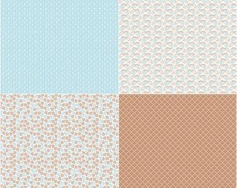 SALE!! 1 Yard Sew Cherry 2 by Lori Holt for Riley Blake Designs- 5809- Aqua Fat Quarter Panel (4 Fat Quarter Prints)