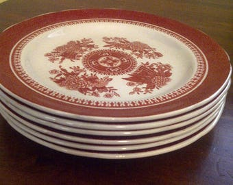 Set of Six (6) Vintage Spode Fitzhugh Red (Copeland, England, New Stone) Bread and Butter/Dessert Plates