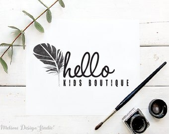 Customized Logo Design, Premade Logo, Feather Logo Customized for your Business, Kids Boutique Pre made and Personalized logos (3-LOGO)