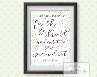 Peter Pan Quote Printable Art- Faith, Trust and Pixie Dust Print- Disney Art Poster for Baby Nursery Room Wall Art DIY Decor Adventure Print