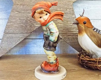 Hummel March Winds Figurine Goebel W. Germany Signed TMK-5 ca. 1972 to 1976 #43 Boy with Hat & Blowing Scarf 155962 Compare at 140.00 USD