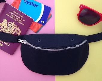 Black Canvas Bumbag, Fanny pack, Hip bag, handprinted, handmade