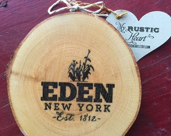 Eden NY Wood Slice Ornament