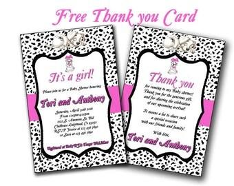 Girl Dalmatians baby shower invitation, Dalmatian baby girl baby shower, custom and printable, dalmatians baby shower thank you card