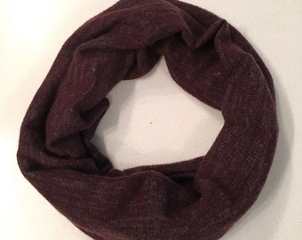 Baby / Toddler Infinity Scarf /Neck Warmer / Tube Scarf - Solid burgundy with specks of grey