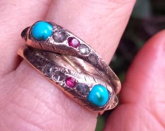 Victorian Double Serpent Ring 15k Gold , Diamonds, Rubies and Garnet