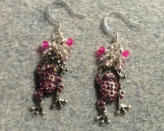 Antique silver and hot pink rhinestone frog charm earrings adorned with tiny hot pink and light pink Chinese crystal beads.