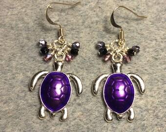 Bright purple enamel turtle charm dangle earrings adorned with tiny dangling purple Czech glass beads.