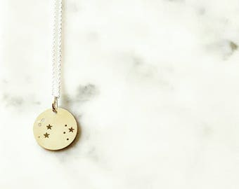 Sterling silver Leo zodiac constellation pendant necklace