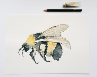"""Bee Print, Bumblebee print, Insect print, A4, 11.8""""x8.3"""""""