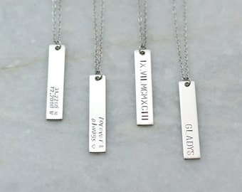 Tag Necklace Customized silver Necklace mother daughter Necklace inspiration necklace gift for coworker gift - 8N