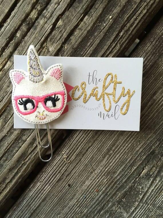 Glitter geeky unicorn Unicorn Clip/Planner Clip/Bookmark.