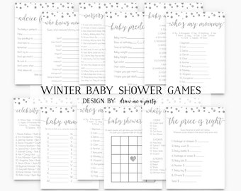 Winter Baby Shower Game, Winter Baby Shower Game Pack , Silver Baby Shower Activities , Confetti Baby Shower Game , Printable , Download