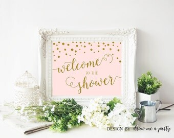 PINK and GOLD BABY Shower Decorations , Welcome To Shower , Confetti Welcome Baby Shower Sign , Gold Glitter , Printable , Instant Download