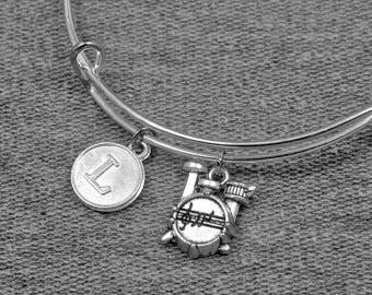 Silver Drum Kit Bracelet -Percussion Jewelry -Expandable Bangle -Initial Charm Bracelet -Your Choice of A to Z