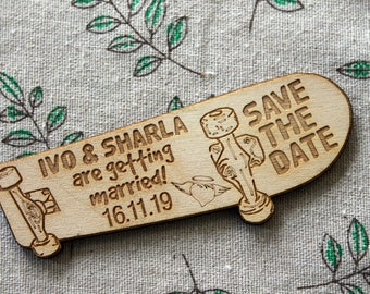 Personalised Wooden SKATEBOARD Shaped Wedding / CP Save the Date Fridge Magnets
