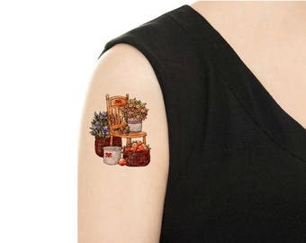 Temporary Tattoo -  Orchard / Apple / Apple Butter / Apple and Floral tattoo / Tattoo Flash