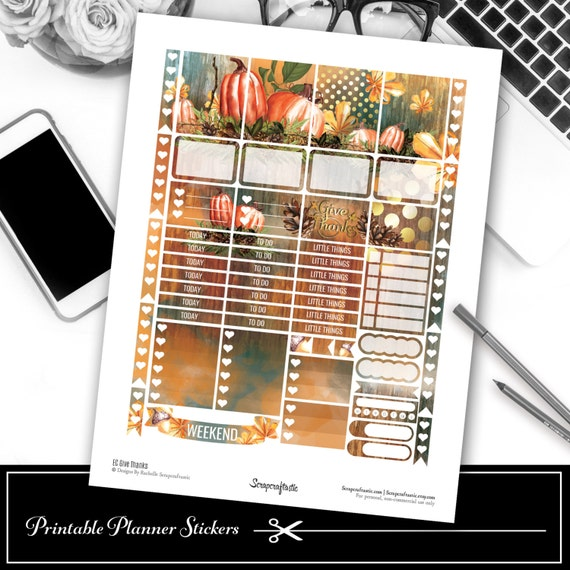 Give Thanks Thanksgiving EC Size Printable Planner Stickers