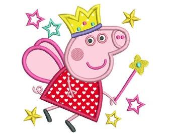 Fairy Pig Machine Embroidery Applique Design, Peppa Pig, Princess Fairy Pig Embroidery Design, 3 Sizes, Instant Download, No: SA539-5