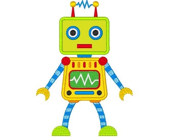 Cute Robot Applique Embroidery Design for Children, Boy's Applique Robot Machine Embroidery Design, Instant Download, No: JG00066-1