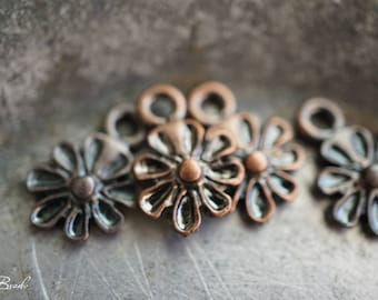 Bronze Daisies, Flower Charms, Charms, Beads, N2318