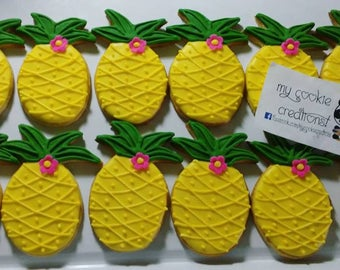 Pineapple Tropical Fruit Summer Sugar Decorated Cookies