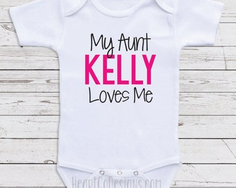 My aunt loves me etsy personalized baby clothes my aunt loves me short or long sleeve baby onesie negle Choice Image