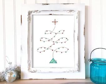 Christmas Art Print. Christmas Tree Print. Merry Christmas Wall Art. Hand Drawn Holiday Decor. Watercolor Christmas Art. Whimsical Art Print