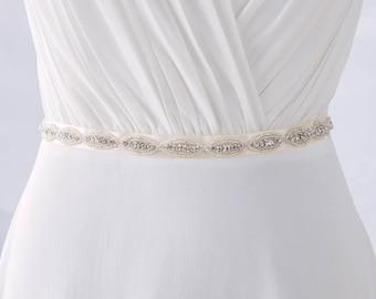 Bridal Sash Belt, Wedding Sashes and Belts, Thin Bridal Belt, Rhinestone Bridal Sash, Beaded Bridal Belt, Crystal Bridal Belt