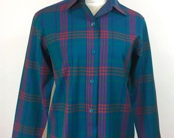 Womens Vintage Pendleton Blouse Blue Pink Plaid Wool Fitted Button Down Wool