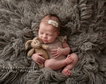 Stuffed Bunny Photo Prop Knit Brown Bunny Rabbit  Newborn Baby Photo Prop Floppy Ears Hand Knitted Bunny Stuffed Animal Photo Prop