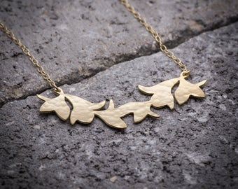 Leaves necklace, Leaves pendant, leaf pendant, nature necklace, leaf necklace, unique necklace, goldfilled necklace, everyday necklace.