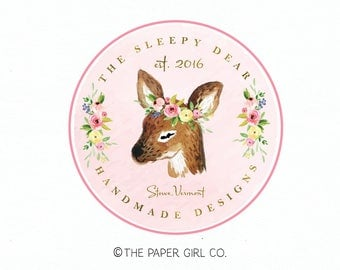 deer logo doe logo rustic logo woodland logo watercolor logo photography logo boutique logo boho logo boho chic logo baby shop logo design