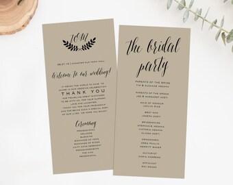 Printable Wedding Ceremony Program, Double Sided Wedding Program, Wedding Program Printable