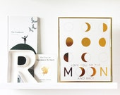 Love You to the Moon and Back Print | valentine's day | love | moon phases | gold foil | rose gold foil