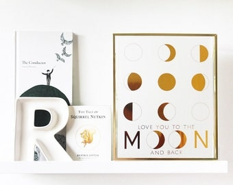 Love You to the Moon and Back Print   valentine's day   love   moon phases   gold foil   rose gold foil