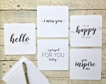"""5""""x5"""" Flat Note Cards, Set of Five, Hello, I Miss You, So Happy For You, I Prayed For You Today, You Inspire Me, Simple Messages, Note Cards"""