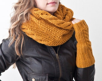 Mustard Fingerless Gloves and Knit Scarf, Chunky Knit Cowl, Mustard Scarf, Gift for Her, Mustard Snood for Women, Circle Scarf