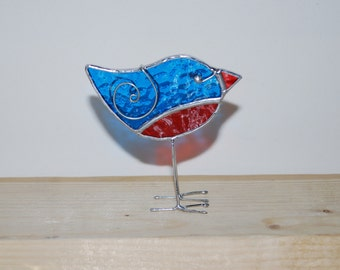 Fun 3D Stained Glass Bird Chick with legs Ornament - Transparent Blue Red Baby  Home Decor Suncatcher 3Dimensional Wire Wings