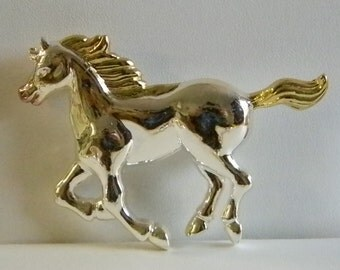 Silver Gold Tone Large Horse Pin Brooch Pendant Necklace