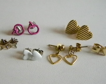 Small Post Pierced Earrings - Hearts & Stars  Total of 6 Pairs