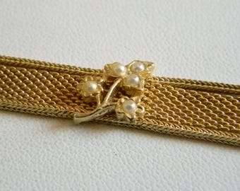 Gold Tone Mesh Weaved Floral Pearl Bracelet
