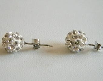 Round Silver Tone Clear Crystal Post Pierced Earrings