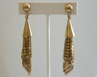 Copper Color Mesh Chain Like Clip Earrings