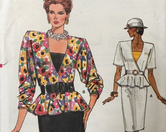 Very Easy Vintage Vogue Pattern 9484 Mock Wrap Peplum Top Pencil Skirt Camisole 8-12 Peplum Uncut