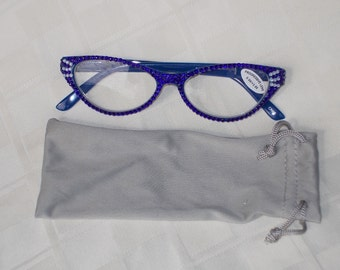Couture 3.00 Progressive Readers,  Cobalt Blue Frames Dazzling in Cobalt Blue and Blue Opal Crystals