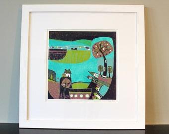 Wall Art prints, Linocut print, Art Prints, landscape Linocut, wedding Gifts, Home Décor, Gallery Wall, Wall Décor, Landscape art, linocut