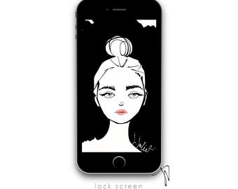 Black Board, iPhone Wallpaper, fashion illustration, iPhone home screen, iPhone lock screen, iPhone background, Instant Digital download