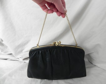 1960's or 1970's Black Leather Two Compartment Clutch Purse Handbag by Ande'