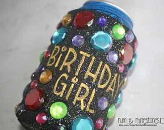 Sparkle Colorful Big Bling Birthday Girl Beer Can Cozy // Can Hugger // Can Cover